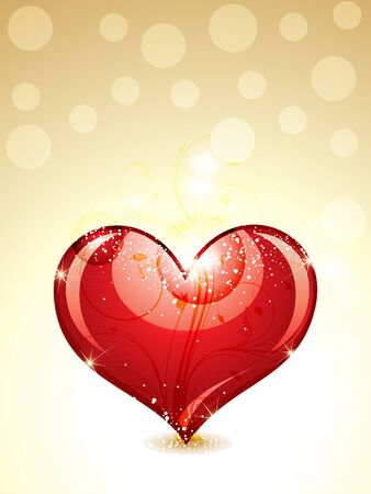 abstract glossy heart with gold background vector illustration  Illustration