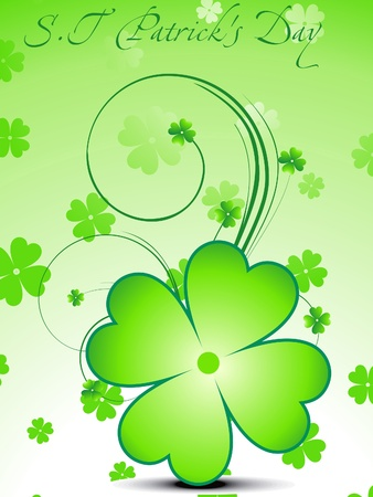 st patric day: abstract green clover with floral vector illustration