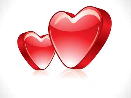 abstract red glossy heart vector illustration