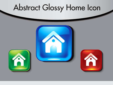 built: abstract glossy home icon vector illustration