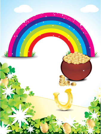 abstract st patricks rainbow backrgound vector illustration  Vector