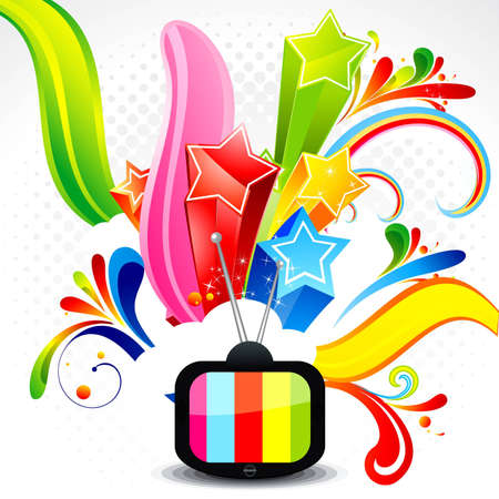 abstract television with explode star vector illustration