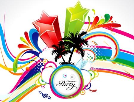 party dj: abstracto de colores explotan tema de verano ilustraci�n vectorial