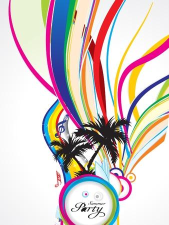 party dj: abstrait �t� color� avec illustration vectorielle grunge