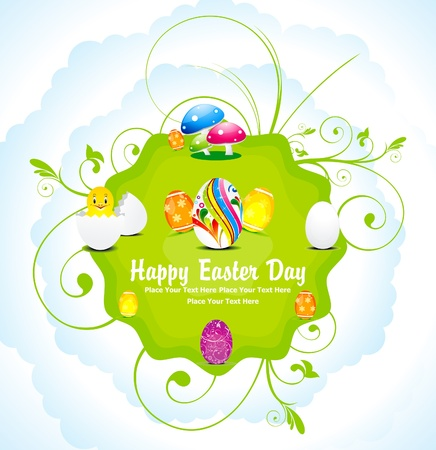 abstract colorful easter day background vector illustration  Vector