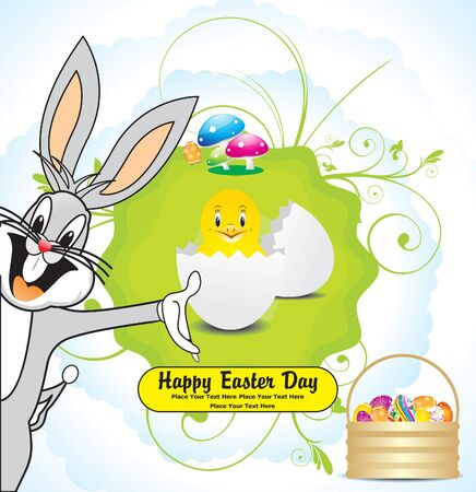abstract easter background with basket vector illustration  Vector