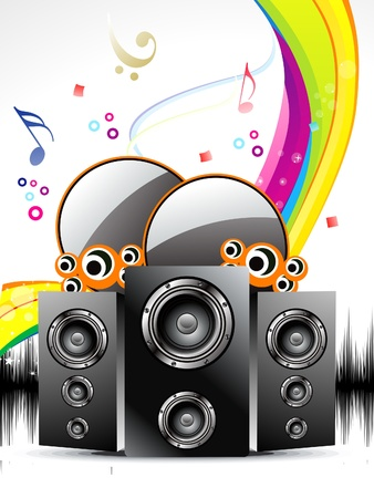 abstract musical background with sound box  vector illustration  Vector