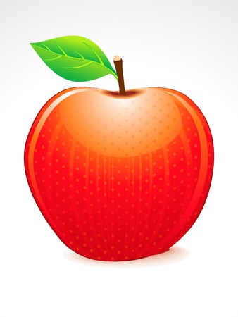 fruit clipart: red shiny apple vector illustration