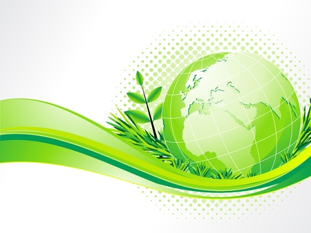 abstract eco background with globe vector illustration  Vector