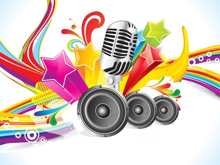 mic: abstract colorful explode musical wave vector illustration