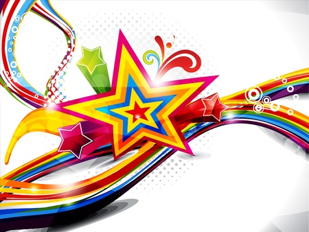 abstract colorful wave with sparkle vector illustration