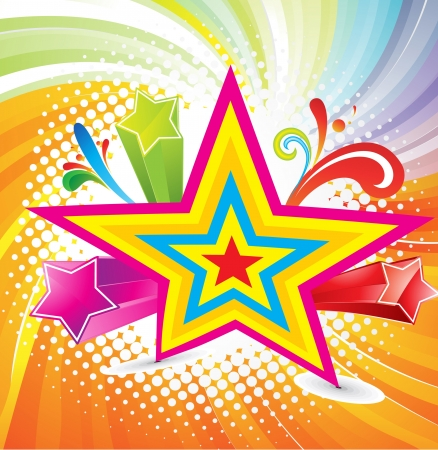 abstract colorful background with star illustration  Stock Vector - 13774452
