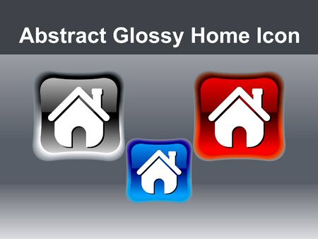 abstract glossy home icon button vector illustration  Vector