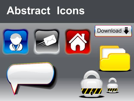 abstract glossy multipale icons  Vector