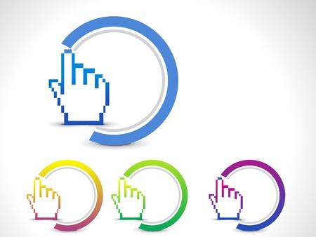 3d cursor: abstract hand cursor button illustration  Illustration