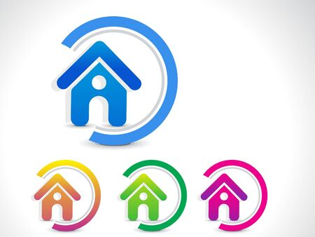 abstract home icon button illustration  Vector