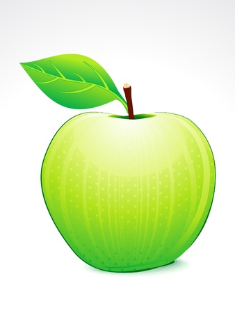 green apple with leaf vector illustration  illustration