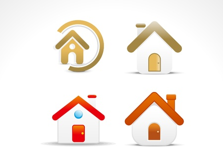 red door: abstract home icon set vector illustration