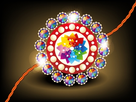 abstract colorful rakhi with daimond vector illustration