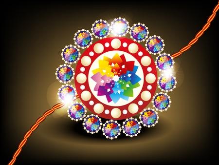 rakhi: abstract colorful rakhi with daimond vector illustration