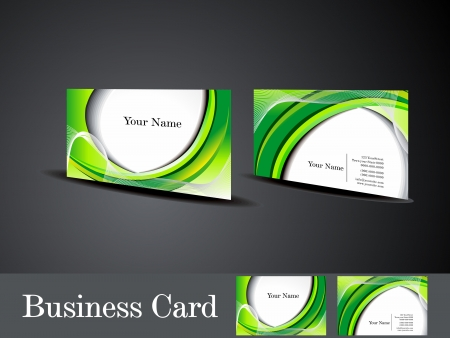 abstract green business card with wave vector illustration  Vector