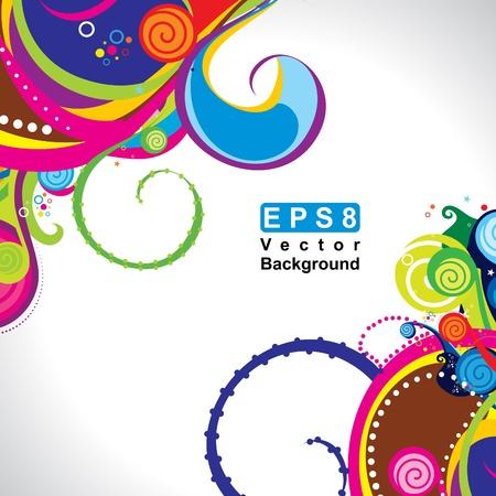 vibrant colors fun: astratto colorato onda magico sfondo illustrazione vettoriale Vettoriali