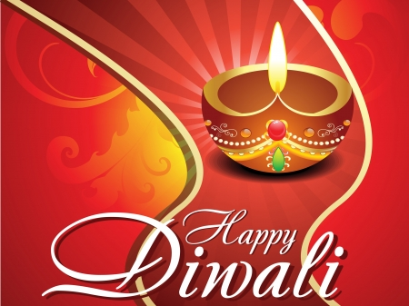 abstract diwali card with floral vector illustration  Vector