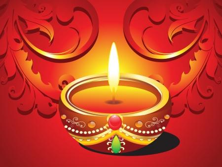oil lamp: abstract diwali traditional card vector illustration  Illustration