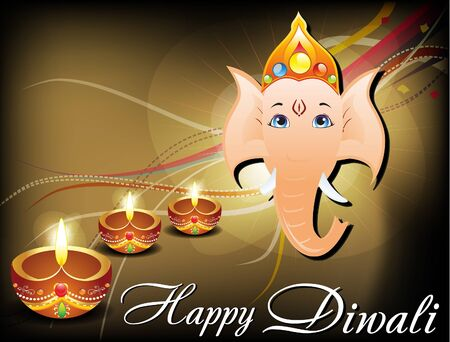 abstract Diwali card with ganesh ji  Vector