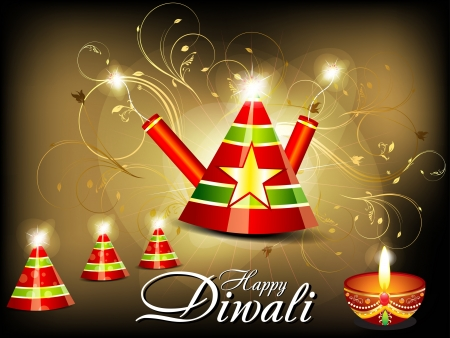 abstract diwali background with cracker  Vector