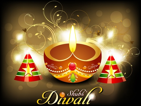 lit image: abstract diwali card with cracker