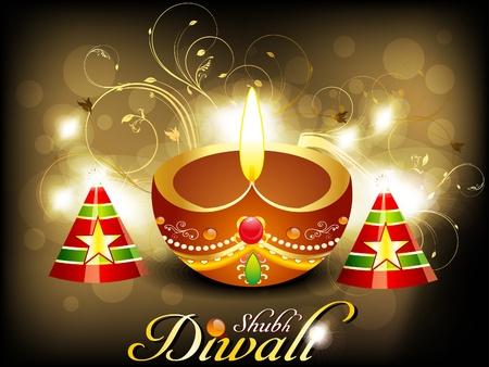 deepawali backdrop: abstract diwali card with cracker