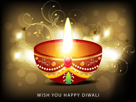 deepawali backdrop: abstract diwali card with floral  Illustration