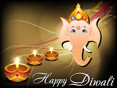 deepawali: abstract diwali card with ganesh ji illustration