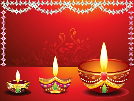 lit lamp: abstract diwali background with flower