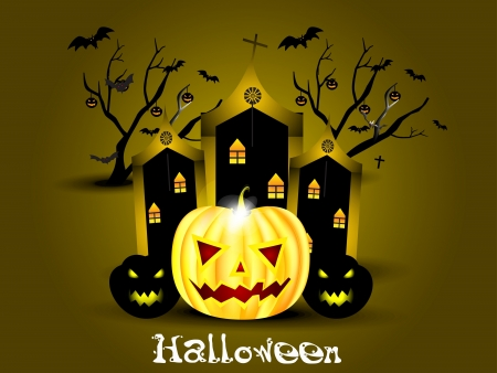 abstract halloween background with pumpkin Vector