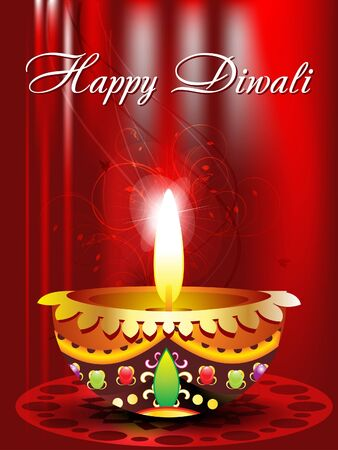 oil lamp: abstract diwali background with floral illustration Illustration