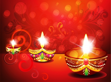 abstract diwali background with floral Vector