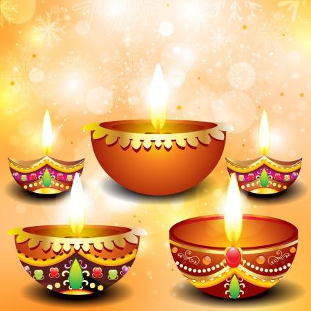 divinit�: diwali abstrait arri�re-plan avec deepak ensemble illlustration