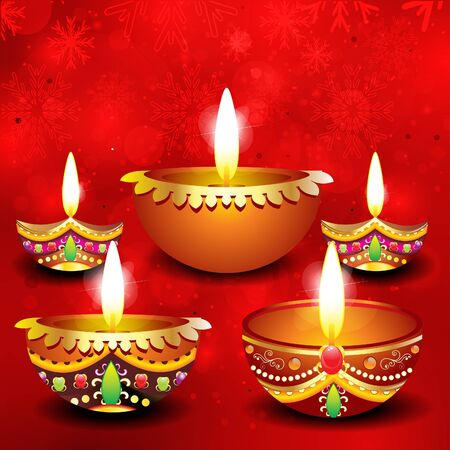 abstract diwali background with deepak illustration  Vector