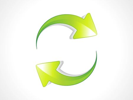 three object: abstract green refresh icon illustration