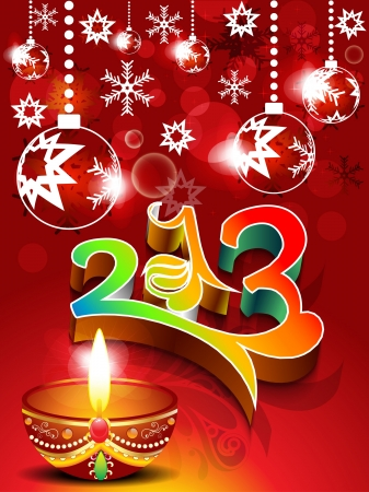 abstract new year background with deepak illustration  Vector
