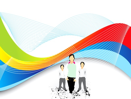 abstract colorful wave background with boys vector illustration  Vector