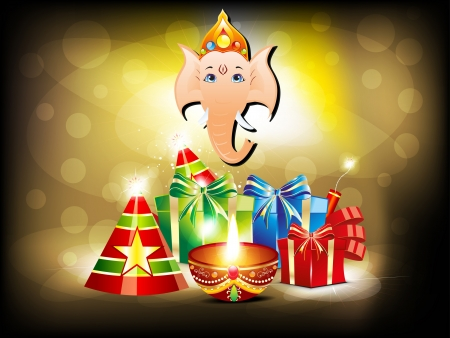 abstract glossy diwali background with gifts  photo