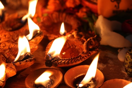 traditional lamps on the festival of diwali night photo