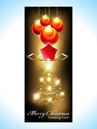 xmas linework: abstract christmas banner with christmas tree illustration