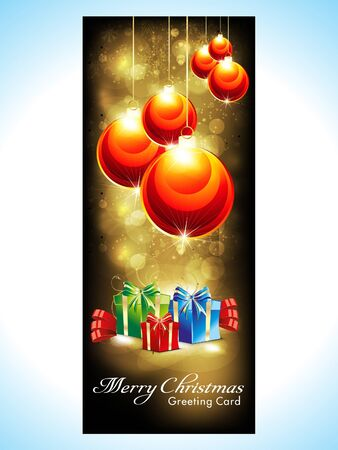 abstract christmas banner with christmas balls vector illustration  Illustration