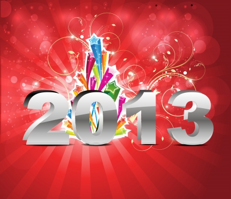 abstract glossy new year background with floral vector illustration  Stock Vector - 17030786