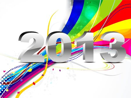 twenty thirteen: abstract new year backgroun with wave vector illustration