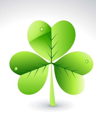 abstract glossy green clover vector illustration  Illustration